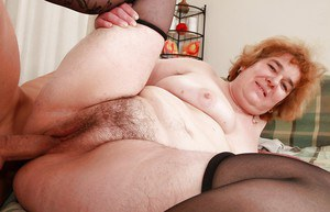 Lusty granny in stockings Andrea Blue gets shagged hardcore