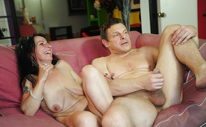 Mature lady with hairy pussy Miss Nina Swiss gets drilled hardcore