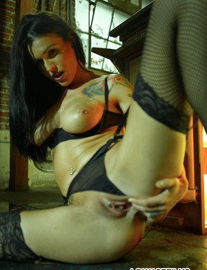 Hot babe in stockings and erotic lingerie Sea J. Raw fingering her cunt