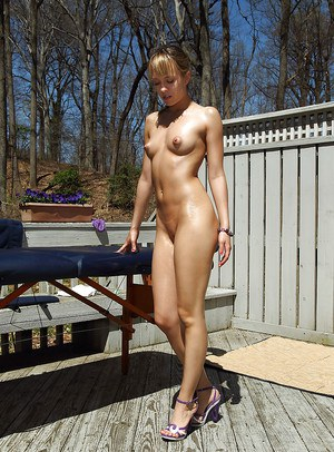 Sweet amateur babe with perky tits Blue AngelShoot posing naked outdoor