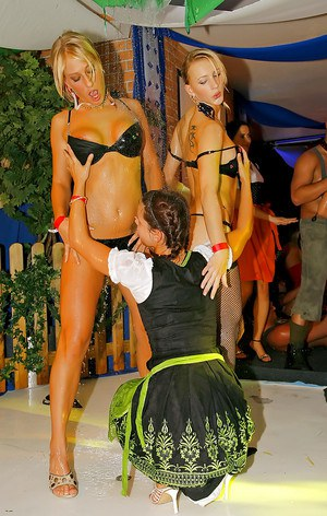 Stupendous babes stripping each other and having fun at the lesbian sex party