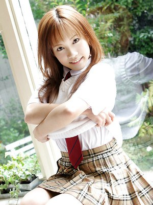 Adorable asian schoolgirl Reika Shina stripping off her uniform