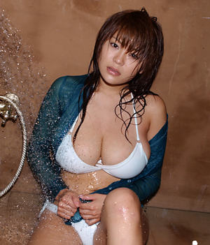 Sexy asian babe with big tits Yoko Matsugane taking shower in bikini