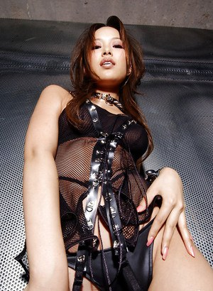 Gorgeous asian babe in leather boots Yua Aida stripping off her lingerie