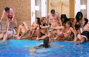 Lascivious babes with fuckable bodies are into hardcore sex party by the pool