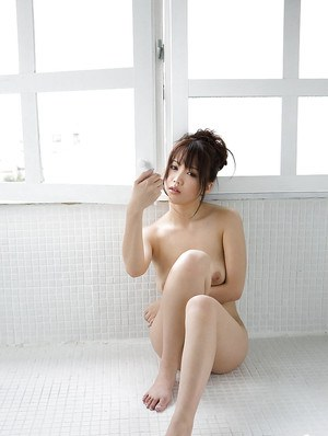 Big busted asian cutie Mai Nadasaka stripping and taking bath