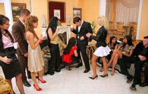 Gorgeous european babes on high heels are into hardcore sex party
