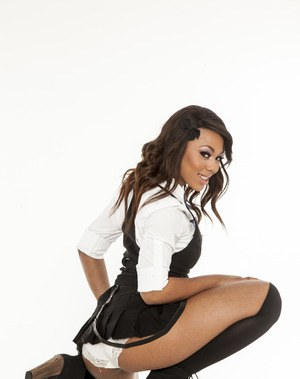 Ravishing ebony babe in school uniform Leilani Leeane stripping