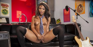 Pretty ebony babe Leilani Leeane taking off her school uniform and lingerie