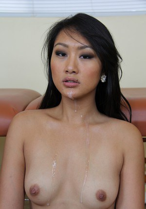 Seductive asian babe Evelyn Lin gets her shaved cunt drilled hardcore