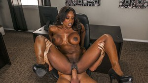 Busty ebony MILF Diamond Jackson gets pounded hardcore in the office