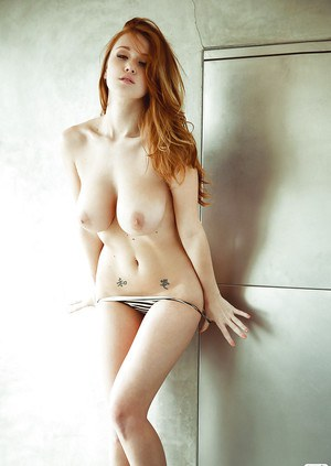 Busty babe Leanna Decker stripping off her lingerie and taking a shower
