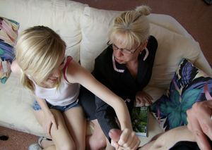 Mature blonde in glasses sharing a cock and cumshot with her teen friend