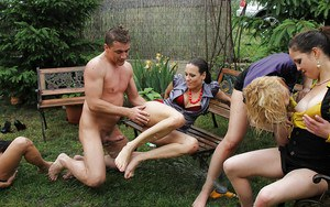 Lustful pornstar Rachel Evans is into group CFNM action outdoor
