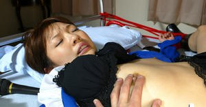 Submissive asian teen babe with tiny tits gets undressed and tortured