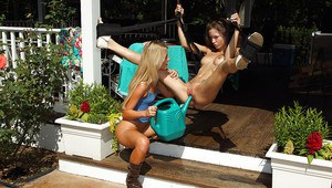 Stunning amateur lesbians having fun with their toys outdoor