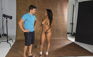 Hot ebony vixen Megan Vaughn sucks and fucks a big white boner