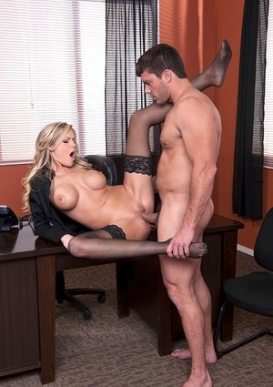 Hot office blonde in stockings Darcy Tyler gets nailed hardcore