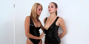 Hot babe in latex outfit Brett Rossi is into passionate lesbian action
