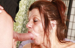 Slutty granny gives a blowjob and gets her bush slammed and creampied