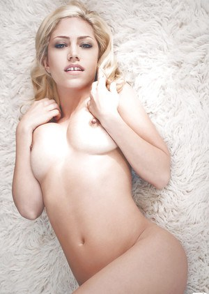 Sweet blonde babe Jade Bryce uncovering her tempting curves