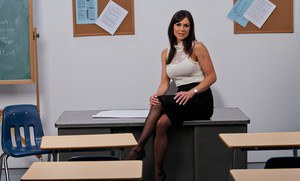 Hot teacher in stockings Kendra Lust stripping off her suit and lingerie