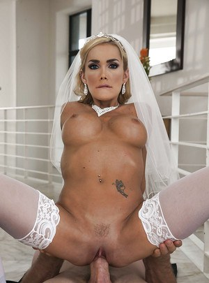 Curvaceous blonde bride gives a blowjob and gets shagged hardcore