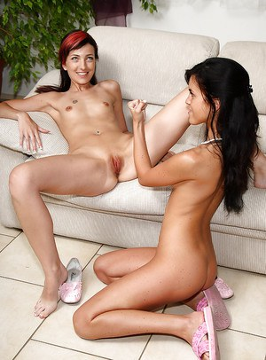 Skinny amateur babe gets her shaved cunt fisted by her lesbian friend