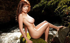Cute coed with big tits Tessa Fowler slipping off her dress outdoor
