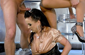 Nasty babes on high heels get fucked hardcore and drenched in golden shower