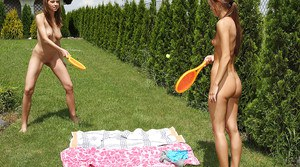 Naughty amateur hotties with sexy bodies have make some lesbian action outdoor