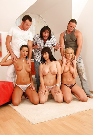Steaming hot babes are into hardcore groupsex with naughty guys