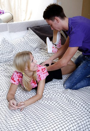 Adorable teenage blonde gets her tight love holes drilled hardcore