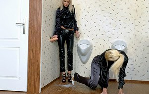 Kinky fully clothed blondes playing with a fake cock and getting bukkaked