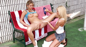 Busty amateur lesbian gets her pussy fingered by her friend
