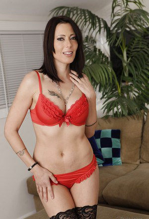 Hot MILF in stockings Zoey Holloway stripping and spreading her legs