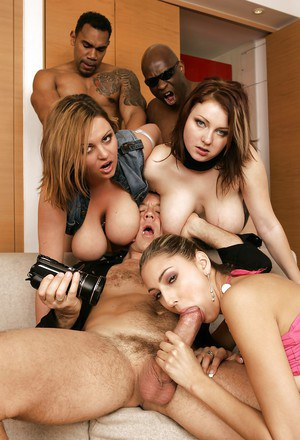 Slutty chicks with massive boobs are into hardcore groupsex with three guys