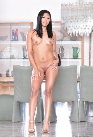 Slim latina babe on high heels Emy Reyes stripping and spreading her legs