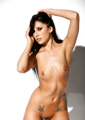 Graceful brunette with tiny tits Nikita Anna stripping off her clothes