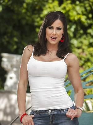 Busty MILF Kendra Lust slipping off her top and jeans shorts