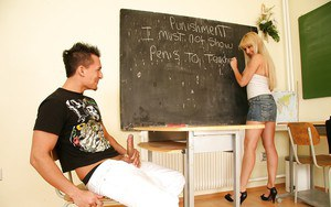 Filthy teacher Natallie D'Angelo fucks her student by strapon