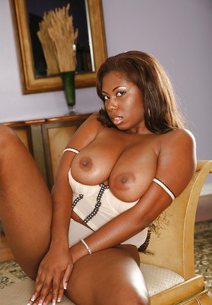 Chubby ebony MILF Jewels Jade uncovering her jugs and taking off hr panties