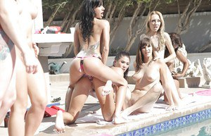 Smoking hot babes with sexy bodies are into wild lesbian group action