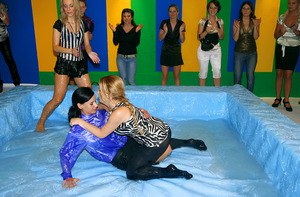 Stunning european gals with big tits are into wet wrestling