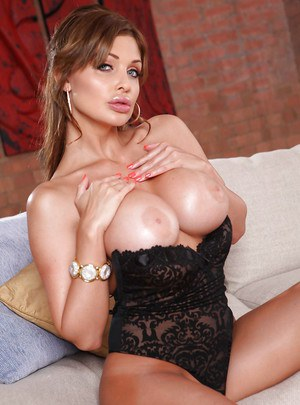 Big busted vixen with sexy ass Aletta Ocean slipping off her lingerie