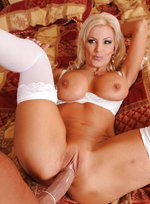 Lovely MILF in white stockings Brittany Andrews gets nailed hardcore