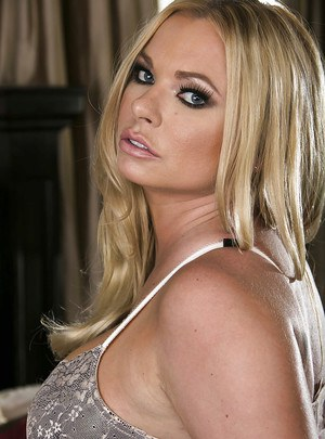 Busty MILF in lingerie Briana Banks stripping and spreading her legs