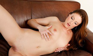Seductive housewife Samantha Ryan stripping and spreading her legs