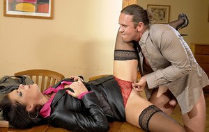 Ravishing fully clothed babe is into hardcore pissing action with naughty guy
