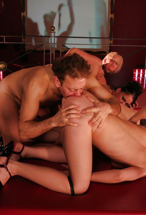 Lascivious gals getting their love holes nailed by strapon and big cock
